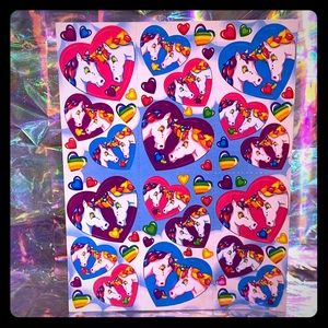 VTG Lisa Frank UNICORN LOVERS IN HEARTS STICKERS